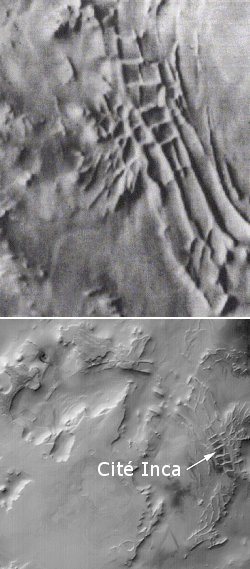 La Cité Inca (images Mariner 9 et Mars Global Surveyor)